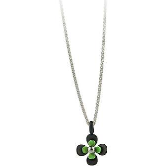 Ti2 Titanium Black zurück vier Petal Flower Anhänger - frisches Grün
