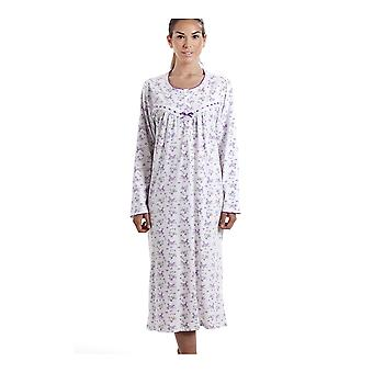 Camille Classic Long Sleeve Purple Floral Print 100% Cotton White Nightdress