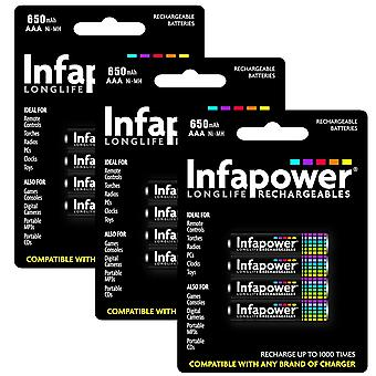 12 x Infapower B001 Rechargeable AAA Ni-MH Batteries 650mAh