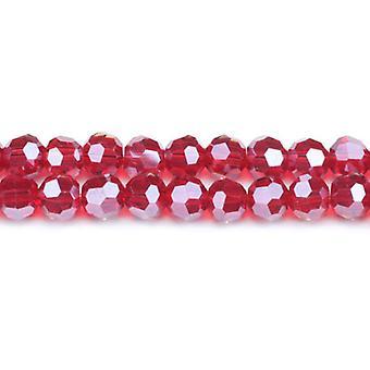 ستراند 70 + زجاج الكريستال التشيكي أحمر غامق 8 مم الوجوه الخرز جولة GC3553-3