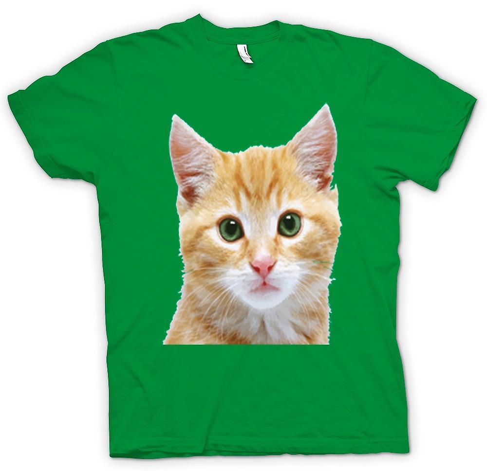 Mens t-skjorte-søte røde kattunge ansikt portrett