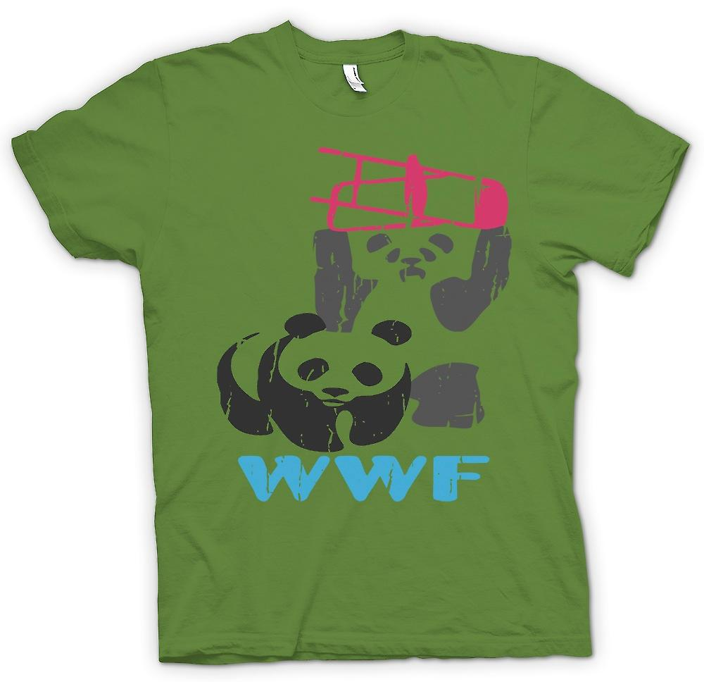 Mens T-shirt - WWF Pandas Wrestling - Smashing Chairs