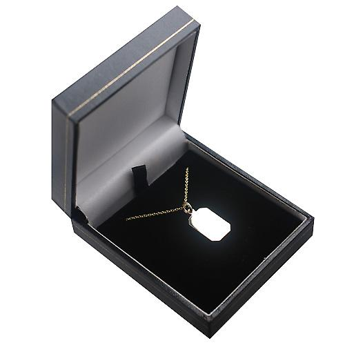 9ct Gold 18x12mm plain cut corner rectangular Disc with a cable Chain 16 inches Only Suitable for Children