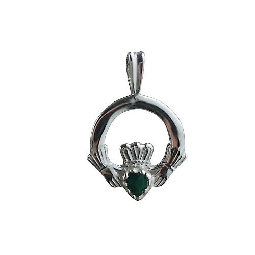 Silver 20x15mm Green Agate set Claddagh Pendant