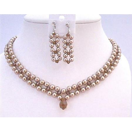 Interwoven 3 Stranded Swarovski Bronze Pearls Smoked Crystals Necklace