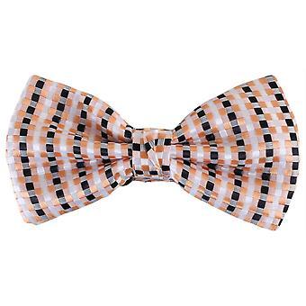Knightsbridge Neckwear Squares Polyester Bow Tie - White/Black/Orange