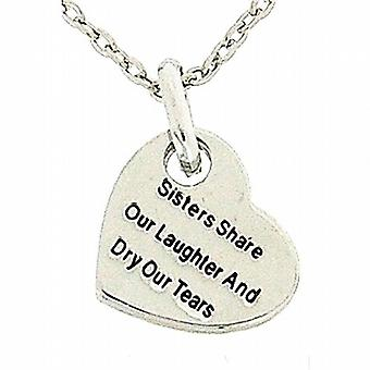 Toc Silvertone 'Sisters Share Our Laughter...' Heart Pendant on 18 Inch Chain