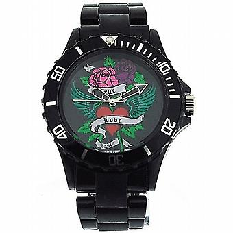 Cookie Pink Ladies-filles Black Dial & montre bracelet en plastique noir PCL-0027