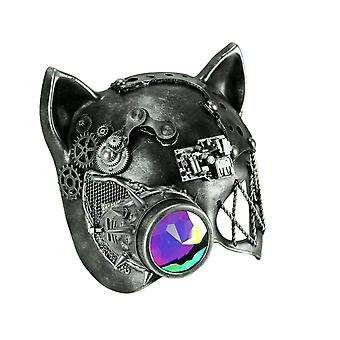 Steamkpunk Cat Robot Kitty Halloween Mask with Light Refraction Monocle