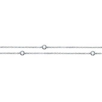Rhodié Silver Halsband med Cubic zirconia serti Clos 80cm