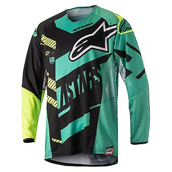 Alpinestars Black-Teal-Fluorescent 2018 Techstar Screamer MX Jersey