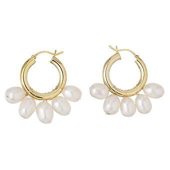 Gemshine Earrings Hoop earrings - 11mm white studded beads in 925 silver or gold plated