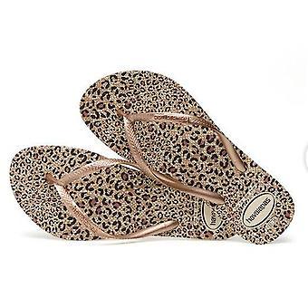 Animal Havaianas, Gold Straps, Leopard Soles Slim Style