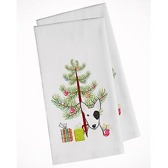 Christmas Tree and Bull Terrier White Kitchen Towel Set of 2
