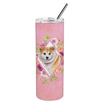 Shiba Inu Pink Flowers Double Walled Stainless Steel 20 oz Skinny Tumbler