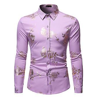 Allthemen Men's Slim Fit Rose Bronzing Maniche lunghe Business Casual Camicia