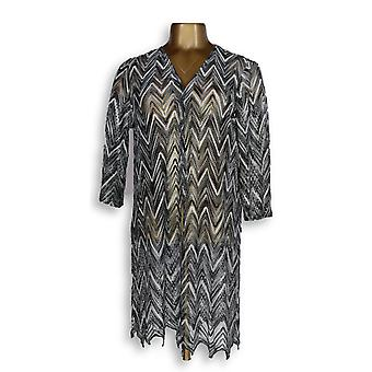 Susan Graver Women's Sweater Chevron Novelty Knit Cardigan Gray A302635