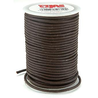Round Leather Lace 2Mm Wide 25 Yard Spool Brown 5050 2