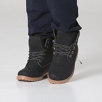 Polar Whites Black Leather Crunch Boots