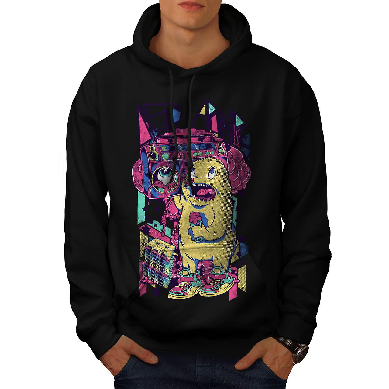 Furry Animal Alien Comic Sound Men Black Hoodie | Wellcoda