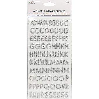 Simply Creative Alphabet & Number Stickers-Skinny Glitter Silver SCSTK014