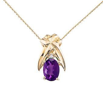 14k Yellow Gold 7x5 mm Amethyst and Diamond Oval Shaped Pendant with 18