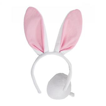 Adults White Easter Bunny Ears & Tail Fancy Dress Accessory Set