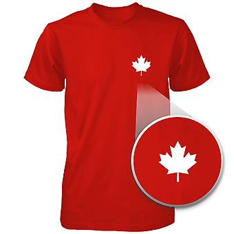 Canada Flag Pocket Printed Red Shirt Cute Men's Round Neck Tee for Canadian