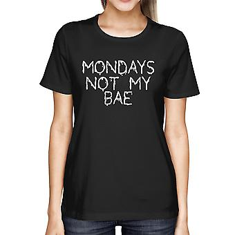 Womens' Funny White Graphic Bold Statement T-Shirt - Monday Is Not My Bae