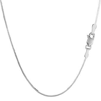 Sterling Silver Rhodium Plated Octagonal Snake Chain Necklace, 1,2mm