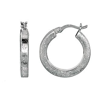 Sterling Silver Rhodium Plated With Brushed Diamond Dust Finish Square Tube Round Hoop Earrings