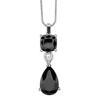 Burgmeister chain and pendant JBM1043-421, 925 sterling silver rhodanized, black zirconia