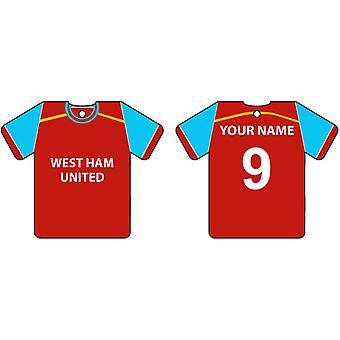 Personalised West Ham Football Shirt Car Air Freshener