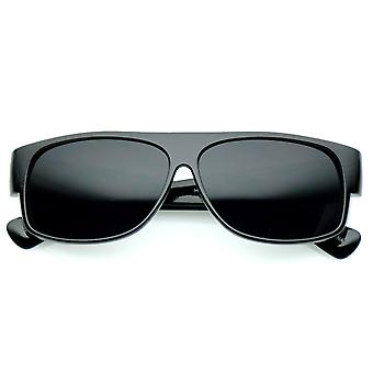 Bold Oversize Flat Top Wide Temple Super Dark Lens Rectangle Sunglasses 59mm