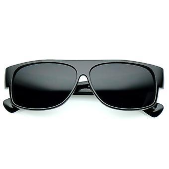 Negrito tamanho grande Flat Top Super largo do templo escuro lente retangular óculos 59mm