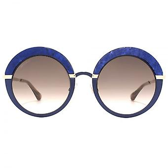 Jimmy Choo Gotha Crystal Glitter Round Sunglasses In Blue Gold