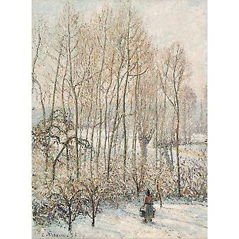 Camille Pissarro - Morning Sunlight on the Snow Poster Print Giclee