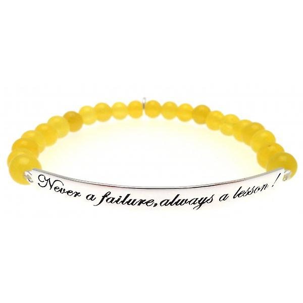 W.A.T 925 Sterling Silver 'Never A Failure Always A Lesson' Yellow Jade Quote Bracelet