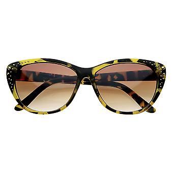 Cravejado de senhoras Womens Glam gato olhos óculos Cateye de óculos de sol
