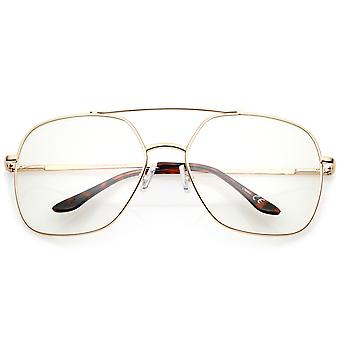 Retro Oversize metallram Slim Temple Clear Lens Square glasögon 64mm