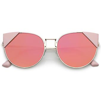Women's Metal Cat Eye Sunglasses Thin Arms Mirrored Round Flat Lens 56mm