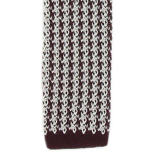 Michelsons of London Silk Knitted Houndstooth Skinny Tie - Burgundy/White