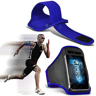 Motorola Moto X Play Fitness Running Jogging Cycling Gym Armband Holder Case Cover (Blue)