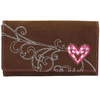 Purse Purse women's wallet Friedrich rollover stock velvet Brown Plaid cotton pink