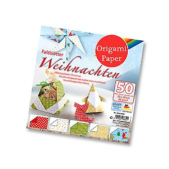 50 Sheets Square Christmas Print Origami Paper - 20cm | Origami Paper Packs
