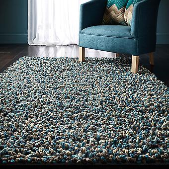 Rocks Shaggy Wool Rugs In Blue
