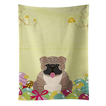 Easter Eggs English Bulldog Grey Brindle  Kitchen Towel