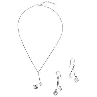 Sterling Silver Expandable 16 + 2 Inch Designer Necklace and Earrings Set with Greek Designed Cube