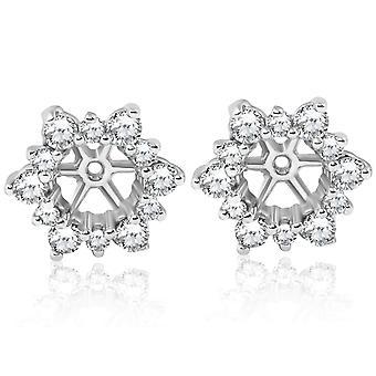 7/8ct Diamond Earring Studs Jackets 14K White Gold Fits 3/4ct Diamonds (5.5-6mm)