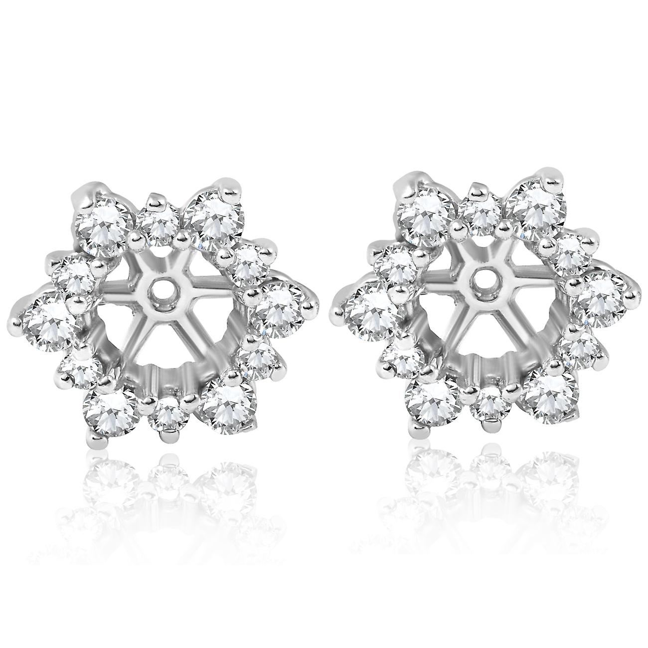 7 8ct Diamond Earbague Studs vestes 14K blanc or Fits 3 4ct Diamonds (5.5-6mm)
